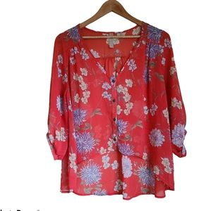 audrey 3+1 red floral semi sheer flowy blouse